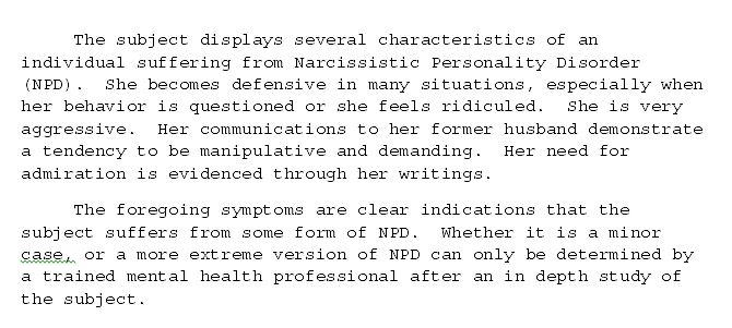 Narcissistic diagnosis