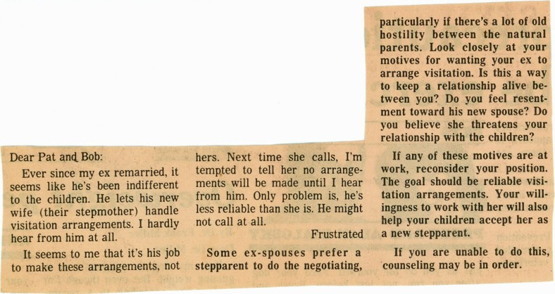 Newspaper Article Advice Column