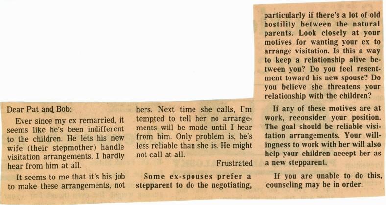 Newspaper Article Advice Column