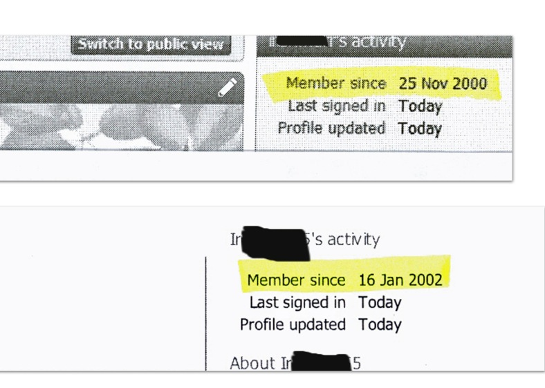 Ancestry membership dates redacted
