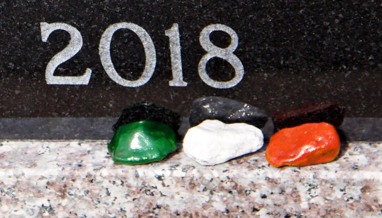 Irish Tricolor Flag Rocks Memorial